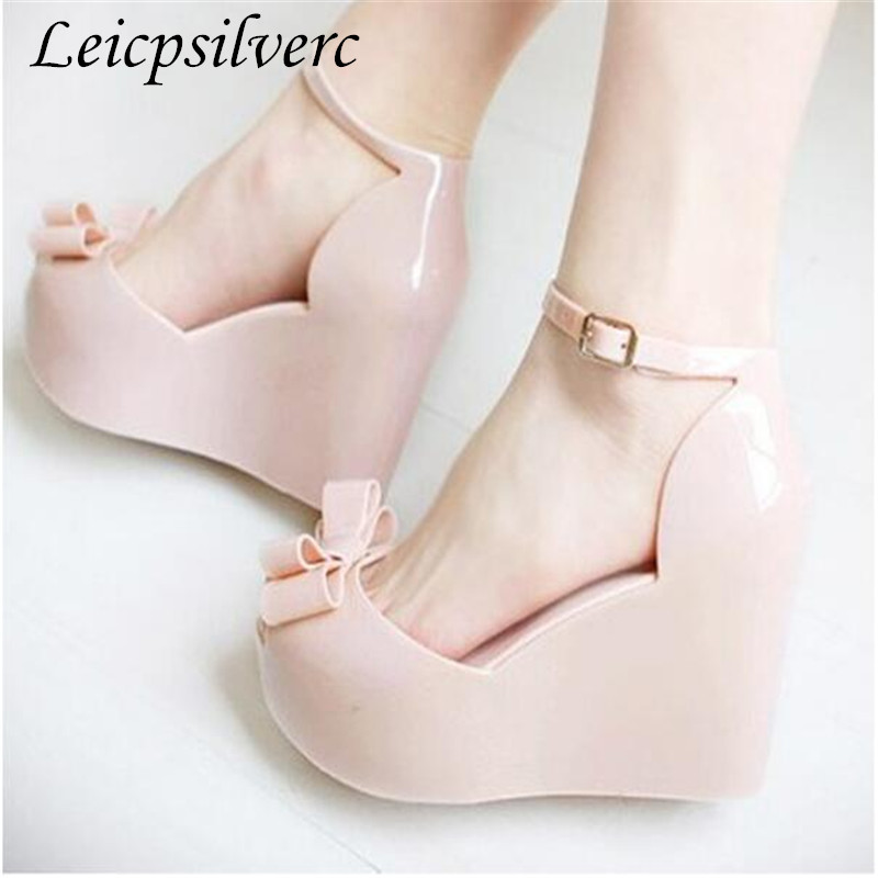 Summer New pattern fashion Slope heel Wedges female sandals jelly shoes bow platform open toe high-heeled shoesSummer New pattern fashion Slope heel Wedges female sandals jelly shoes bow platform open toe high-heeled shoes