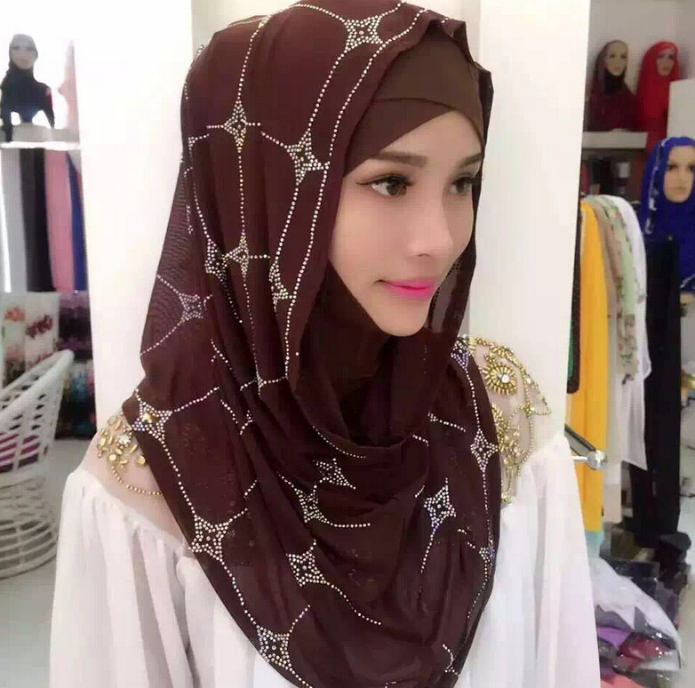 Free Shipping Muslim  Scarf  Middle East  Austria drill  Sets of head  Female summer  Scarf  Hui  Ethnic style  Hijab  #8139