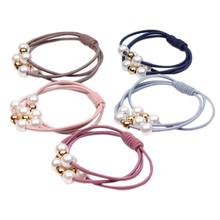 Korean Women Three Rubber Band Hair Rope Cute Little Bee Imitation Pearl Charms Ponytail Holder Gum Knotted Scrunchies Bracelet(China)