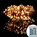 164Ft/50 m 500 Leds Branco Quente LEVOU Luzes Da Corda de Fio de Cobre Estrelado Luzes de Natal luzes De Fadas + Power adaptador + Controle Remoto