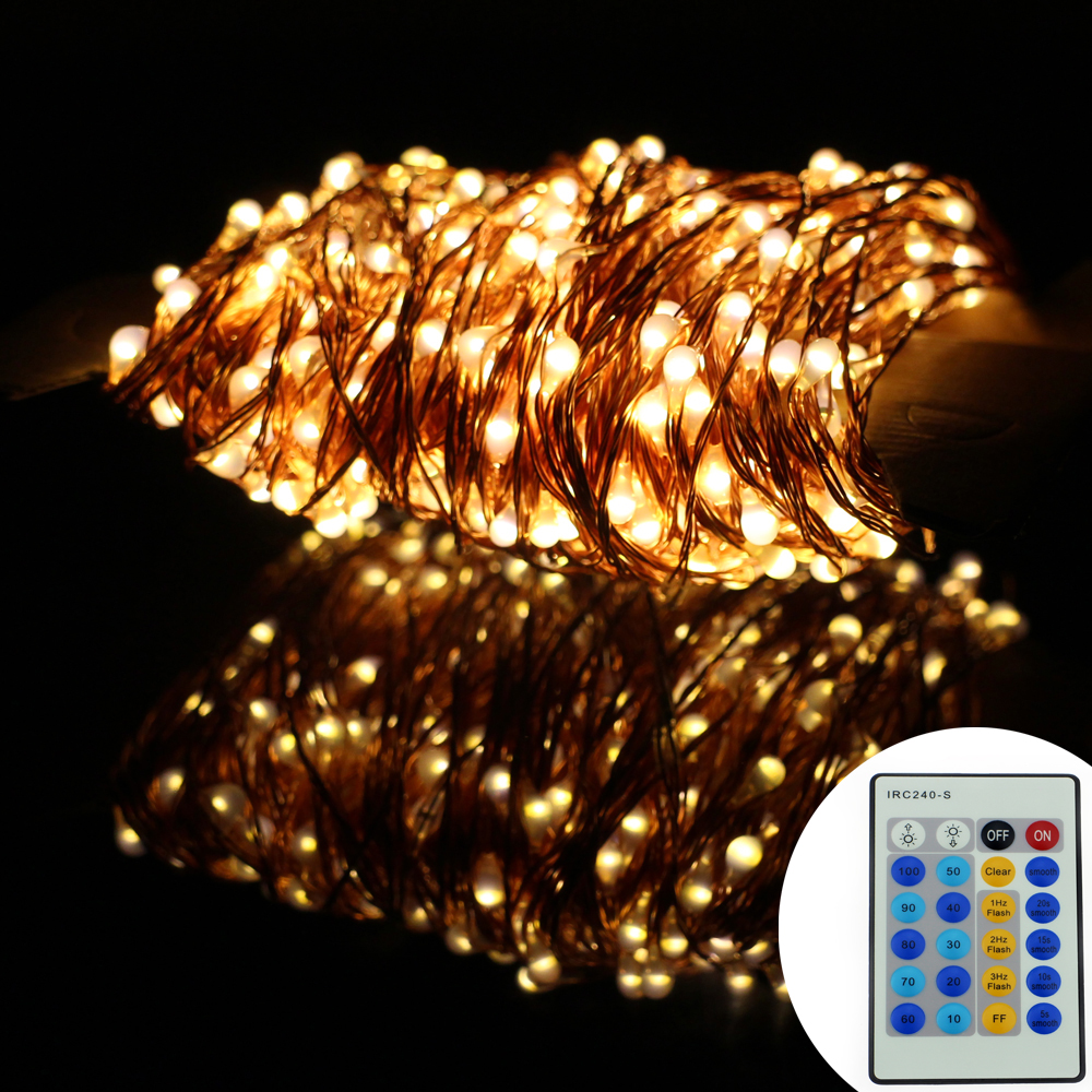 164Ft/50m 500 Leds Copper Wire Warm White LED String Lights Starry Lights Christmas Fairy lights+Power Adapter+Remote Control 3 10m series and parallel 99ft 300 led waterproof warm white led string fairy starry light copper wire plug adapter powered