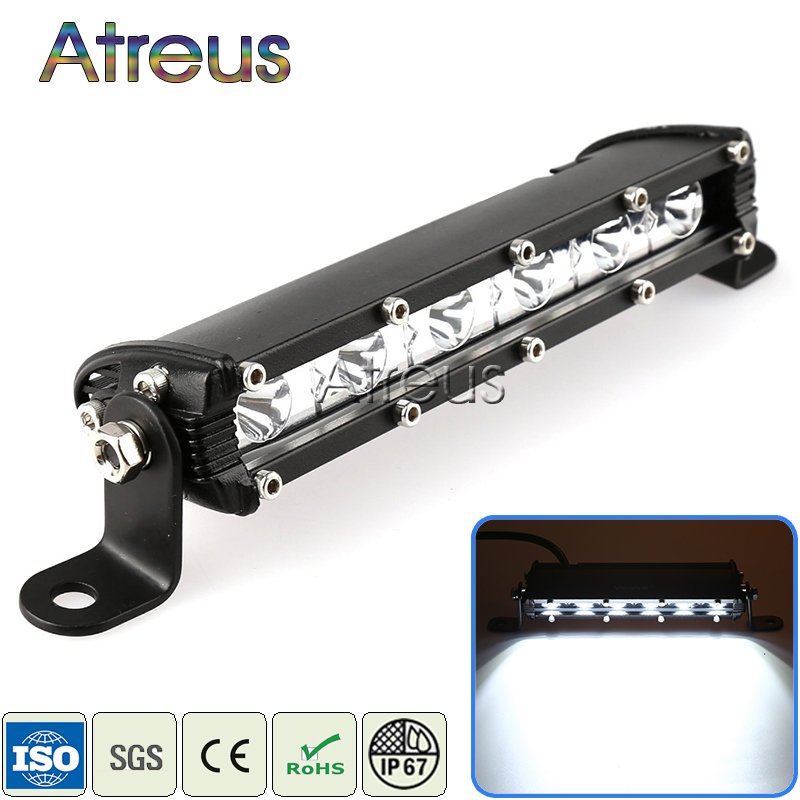 Atreus 1X 9Inch 18W Car Single Row LED Light Bar 12V 24V Spot DRL Lamp For ATV 4X4 Truck 4WD Offroad Trailer Driving Fog Lights