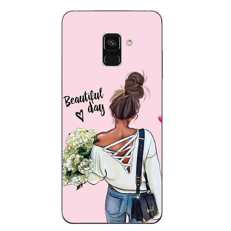 Moda siyah kahverengi saç bebek anne kız kraliçe 01 yumuşak silikon telefon kılıfı için Samsung Galaxy S6 S7 kenar S8 s9 artı not 8 9