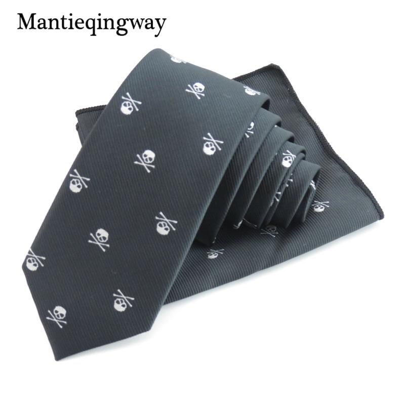 Mantieqingway Business kabatas lakatiņu kaklasaites Poliestera kaklasaites komplekts Skull Pocket Square Corbatas Hombre Pajarita krūšu dvieļu kāzas