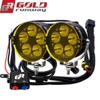 GOLDRUNWAY GR 50XL 50W U3 LED Headlight Motorcycle Driving Fog Spot Bulb Light+Switch+Yellow lenses+Mount Kit