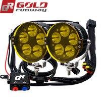 GOLDRUNWAY GR-50XL U3 50 W LED פנס אופנוע נהיגה ערפל הנורה ספוט אור + מתג + עדשות צהובות + הר ערכת