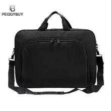 wanita / lelaki Portable Nylon Computer BAG Shoulder Laptop bag Simple Briefcase Black for business travel