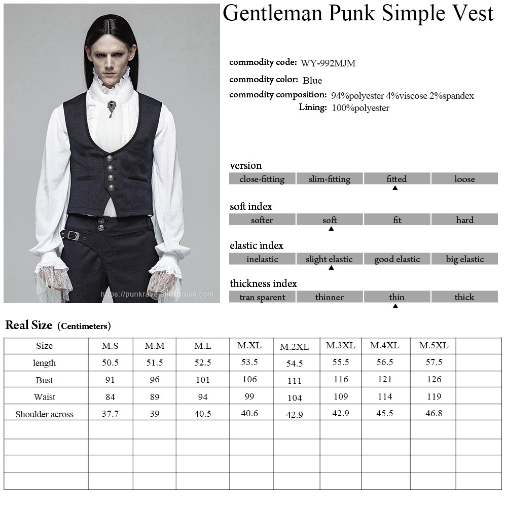 PUNK RAVE New Victorian Gothic Men's Gentleman England Style Simple Dark Blue Jacquard Vest Retro Fashion Casual Men Waistcoat