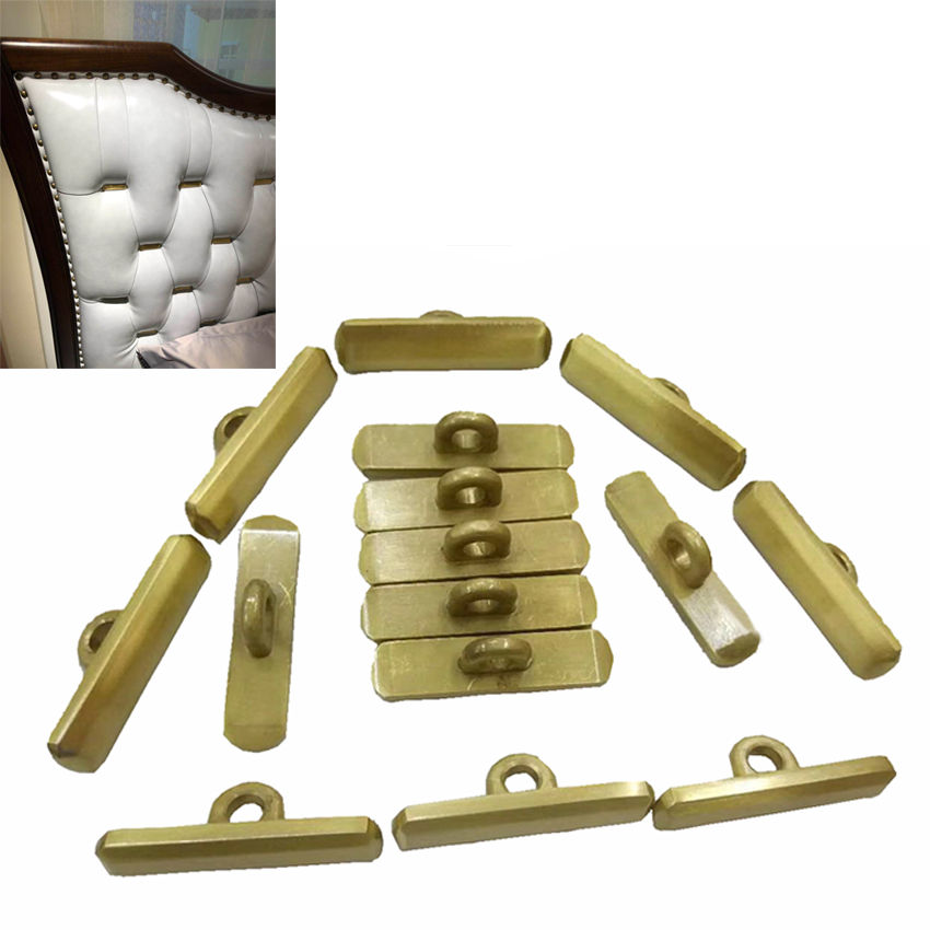 (Pack Of 100pcs ) Antique Gold Rectangle Buttons With Handle For Headboard Upholstery Luxury Retro Royal Style