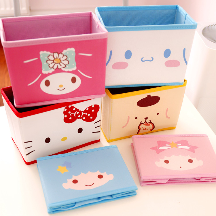 Cartoon Hello Kitty My Melody Cinnamoroll Pompompurin The Little Twin Star Cosmetic Bags Toy Folding Storage Makeup Box Bag