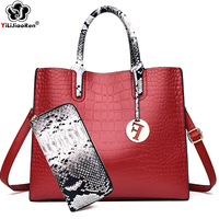Luxury Crocodile Pattern Women Handbags Set Fashion Leather Crossbody Bags for Women Designer Large Capacity Tote Bag Sac A Main