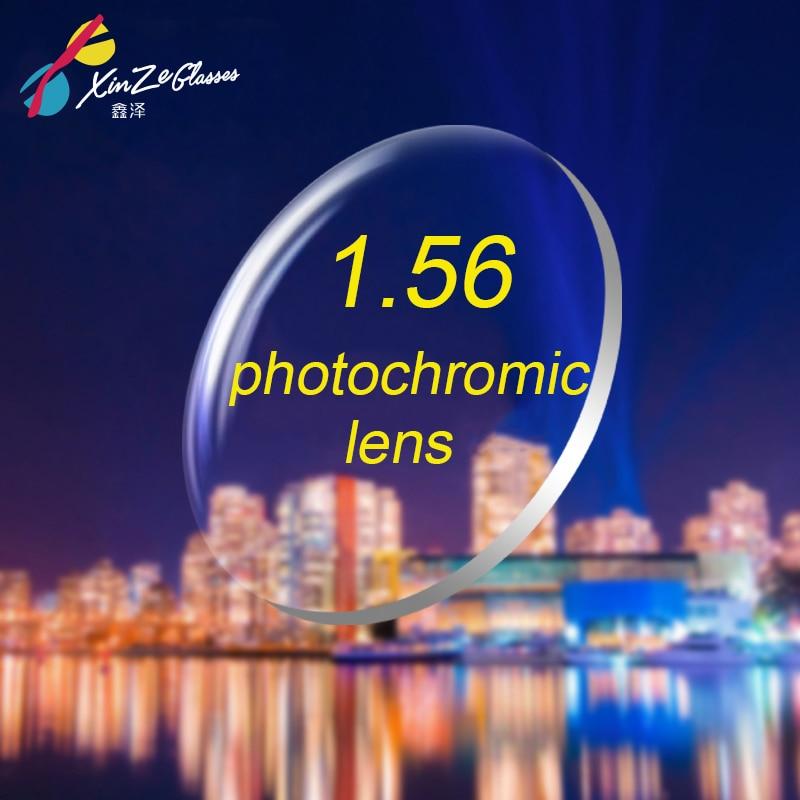 XINZE 1.56 Lentes de Óculos de Prescrição Óptica Fotocrômica com Visão Única com Rápida Mudança de Cor Desempenho miopia Hipermetropia