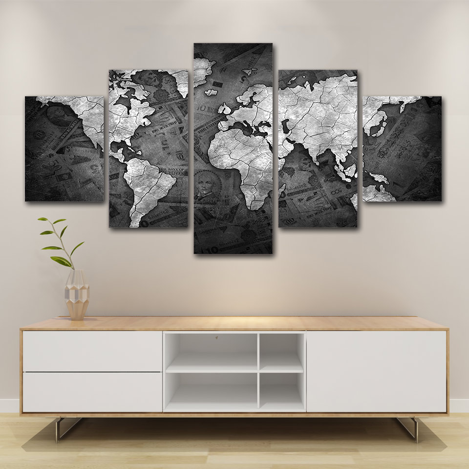 Artsailing 5 Piece Canvas Black And White World Map Painting Hd