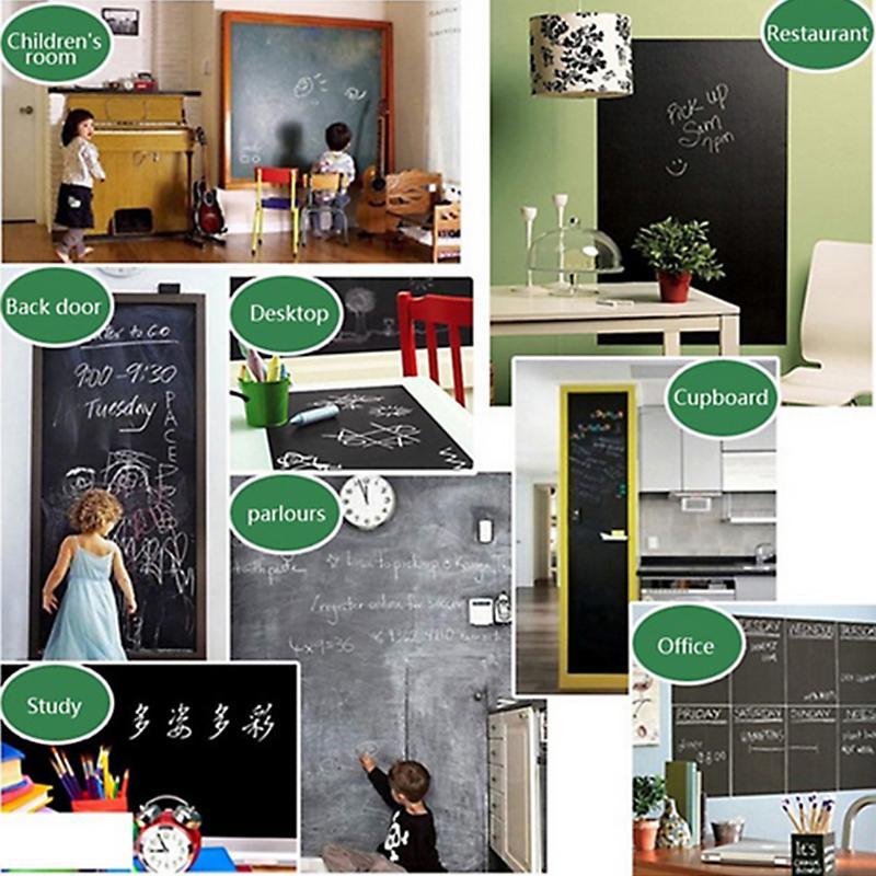 VODOOL 110x45cm Blackboard Wall Sticker Creative Vinyl Record Design Chalkboard Removable Erasable Draw School Office Supplies