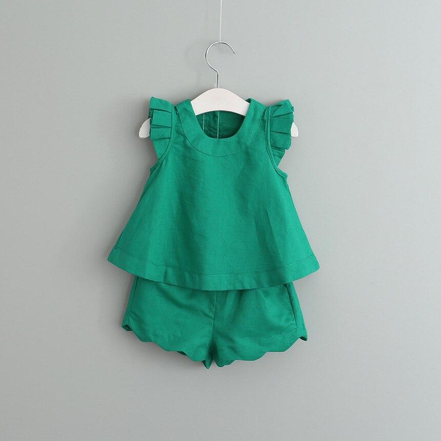 Meiteņu apģērbu komplekti Pavasara un vasaras bezpiedurkņu cietie bērni Apģērbu komplekti Bērnu apģērbi Bērnu meitenes Apģērbu komplekts Outfits Kids