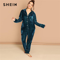 SHEIN Plus Size Notched Collar Top And Pants Blue Velvet Pajama Sets Women Long Sleeve Sleepwear Autumn Winter Loungewear Set