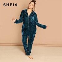SHEIN Plus Size Notched Collar Top And Pants Blue Velvet Pajama Sets Women Long Sleeve Sleepwear Autumn Winter Loungewear Set