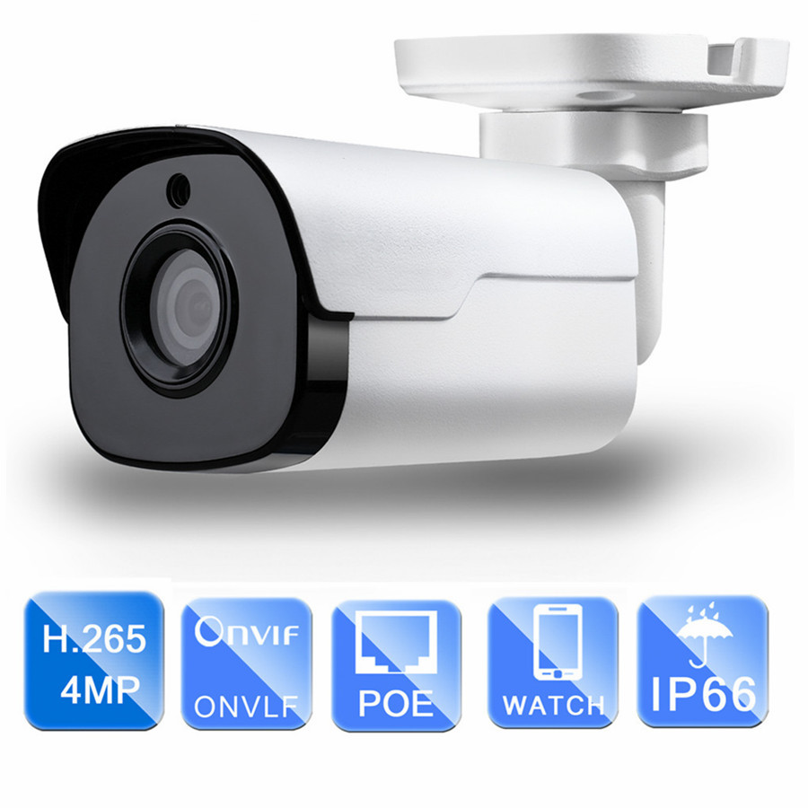 Outdoor HD CCTV PoE IP Camera 4MP H.265 30m IR infrared Face detection ONVIF WDR Surveillance night vision Security Camera