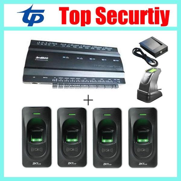 TCP/IP four doors full access control system fingerprint access control panel with fingerprint reader and sensor inbio460 biometric fingerprint access controller tcp ip fingerprint door access control reader