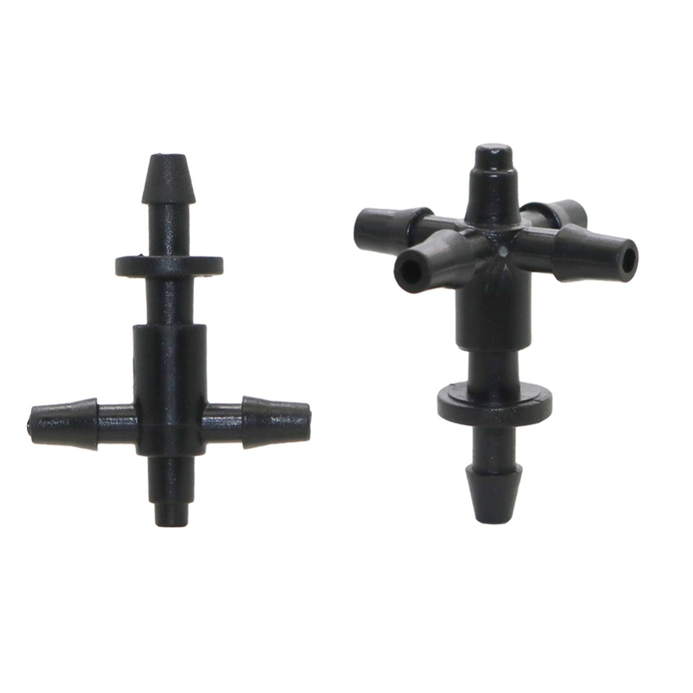 20 Sets Barbed 3/5mm Hose Straight Quick Connectors With Three-way Five-way Hose Splitters Multiple Joint Cross-connector