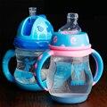 Bebé Botellas de Agua de Plástico De color Taza Pp Mamadeiras Borraccia QQB098 Tazas Portátiles Niños Lindo Tazas de Botella Con Tapa de Paja