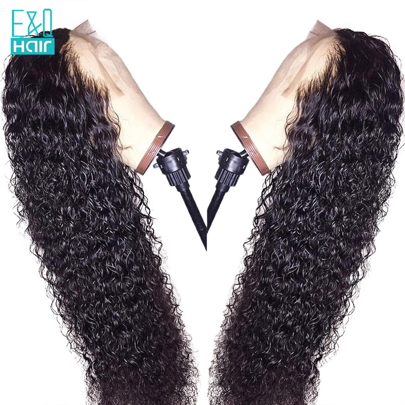EQ High Density 360 Curly Wave Lace Frontal Human Hair Wigs For Women Pre Plucked Hairline