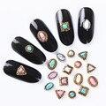 5 Unids/set 3D Decoración de Uñas de Manicura Del Arte Del Clavo Redondo Ovalado Cuadrados Triángulo de Piedra Natural Decoración