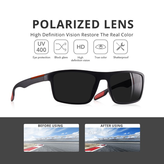 AOFLY DESIGN Ultralight TR90 Polarized Sunglasses Men Driver Shades Male Vintage Sun Glasses For Men Spuare Eyewear Gafas De Sol 2