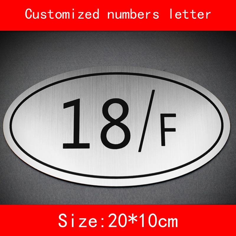 size 20 10cm house number building floor sign room number sliver brushed ABS Customized Hotel Door Numbers letter not fade in Door Plates from Home Improvement