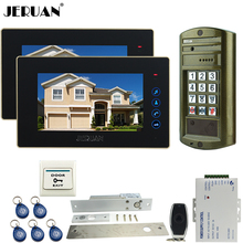 "JERUAN 7"" Video Door Phone Intercom System kit 2 Monitor +Metal Waterproof password HD Mini Camera +Electric Drop Bolt lock 1V2"