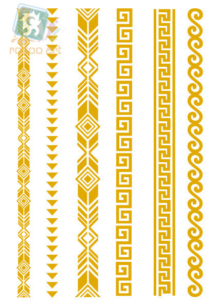 VT361/Fashion traditional waterproof metalic gold tatoo fake temporary tattoo gold flash wrist bracelet tattoos