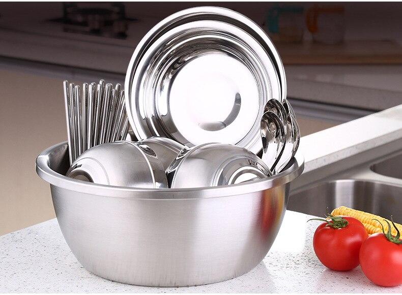 1PC New Stainless Steel Bowl Chinese Fruit Vegetable Food Bowl Kitchen Cooking Accessories For Baking Egg Mixing Bowl PL 005 dřevěné dekorace do dětského pokoje