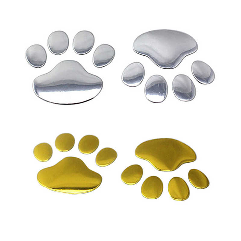 3D Paw Car Animal Dog Cat Bear Footprint Sticker Window Bumper Body Silver Gold Red Decoration Home for BMW Honda Toyota Ford