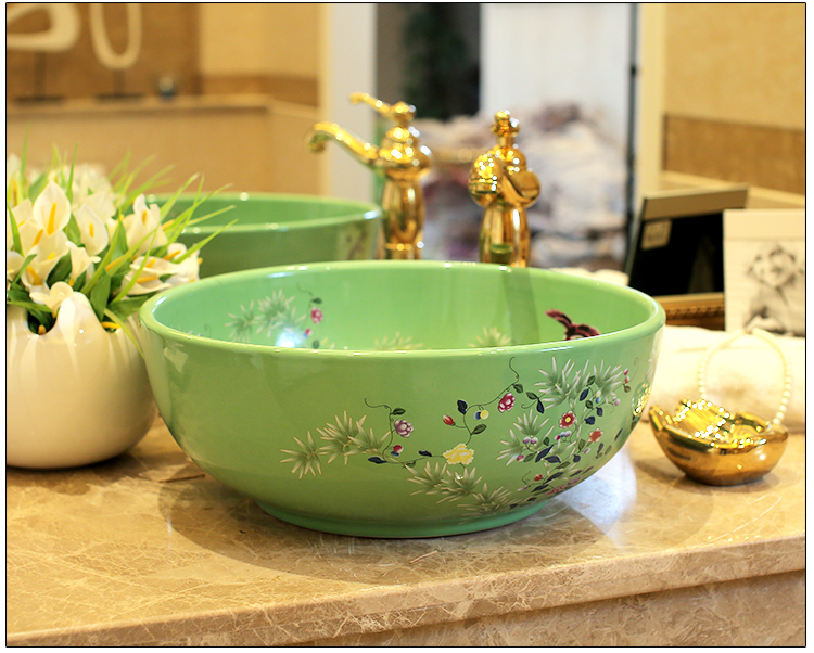 Bloem en vogel china artistieke handgemaakte porseleinen wastafels