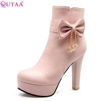 QUTAA 2018 Women Mid Calf Boots Fashion Pu Leather Pointed Toe Zipper Bow Tie Cute Stlye