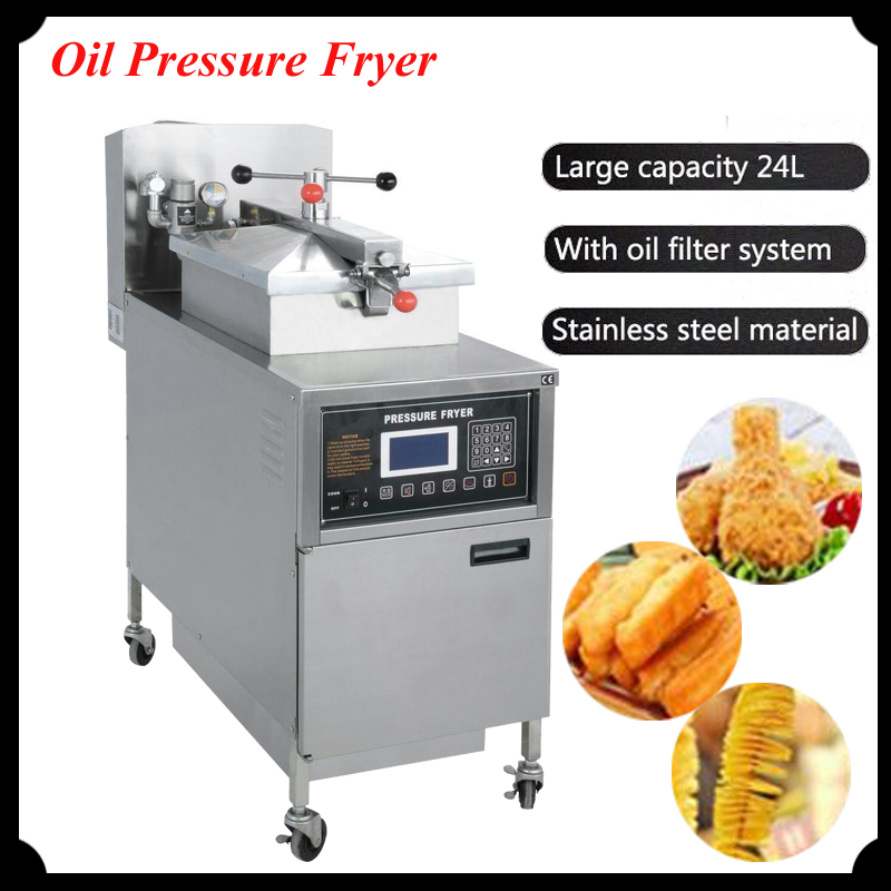 1pc 24L Gas Fryer Computer Control Digital LCD KFC Chicken Oil Pressure Fryer with Oil Pump PFG-600 salter air fryer home high capacity multifunction no smoke chicken wings fries machine intelligent electric fryer