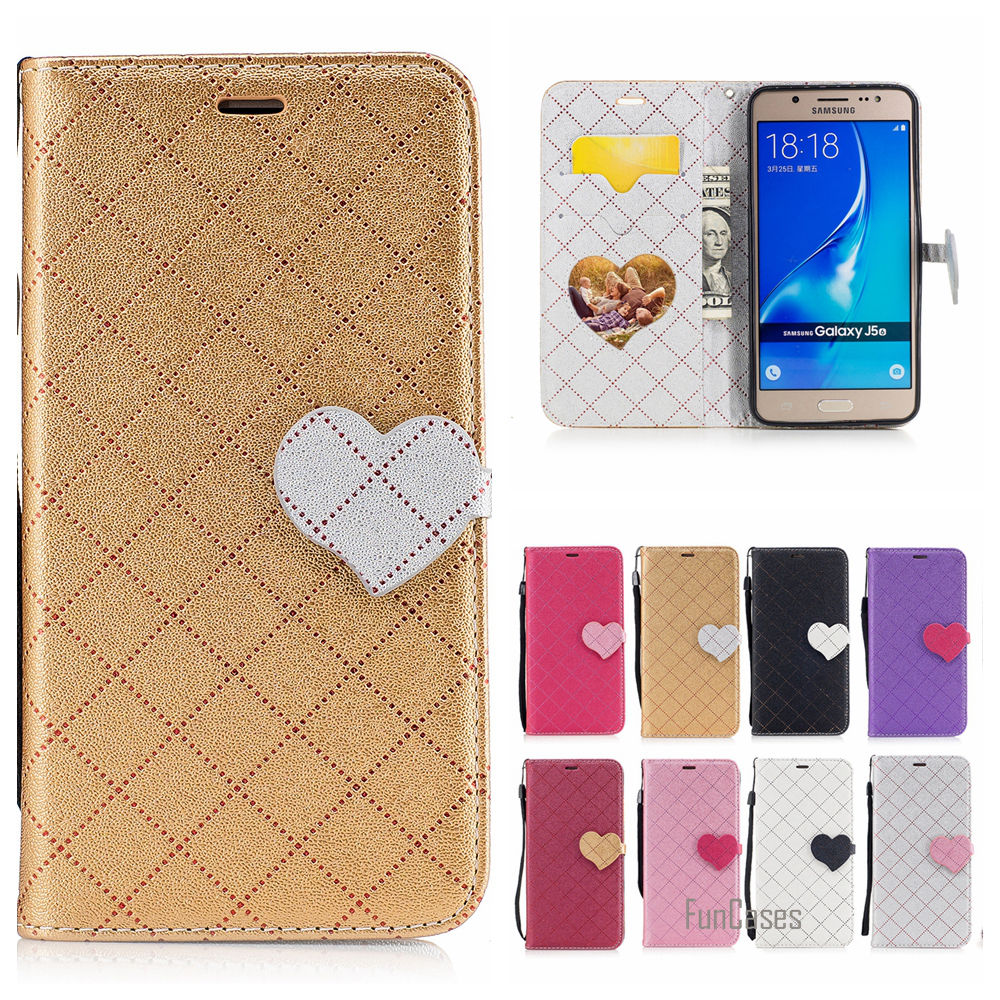 Cute Heart PU Leather Case For Samsung Galaxy J510 Hit Color Couro Phone bag For Samsung J5 2016 J510F Etui Caso Tiron Capinhas