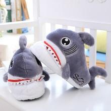 Slippers Plush Stuffed Kids Shark Floor-Shoes Sole Dot Animals Anti-Slip Grey Mouth Girls