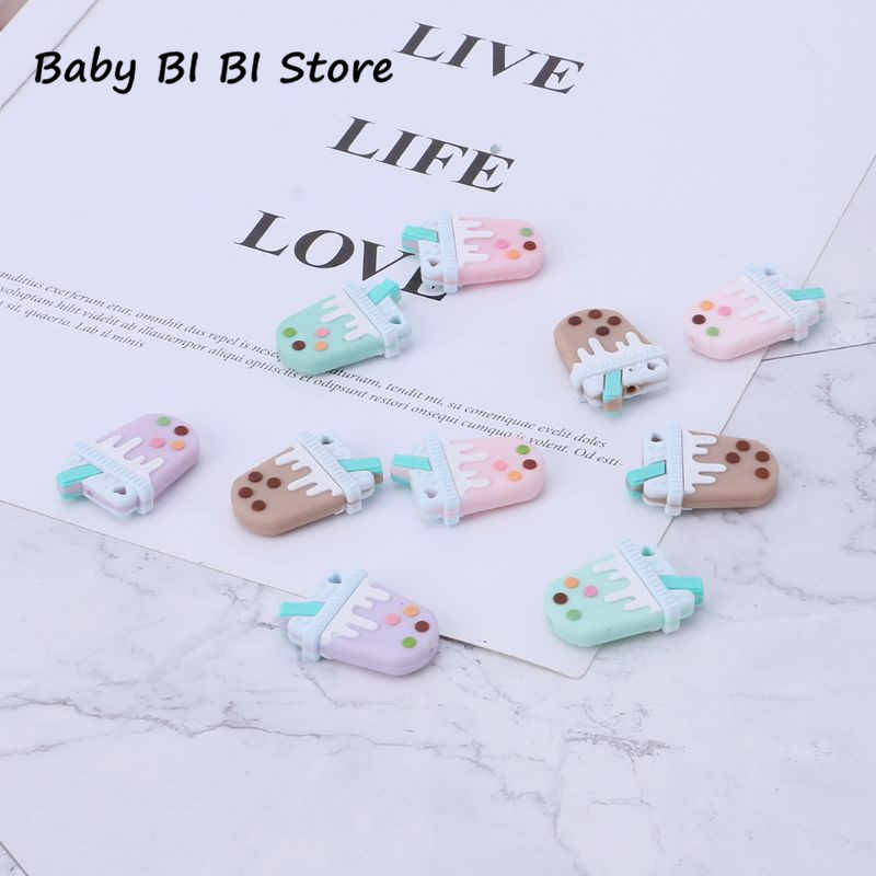 Silicone Beads Baby Teether Milky Tea Funny Cute Colorful Oral Care Bite Chew Newborn Safe Food Grade Crafts Pendant Necklace