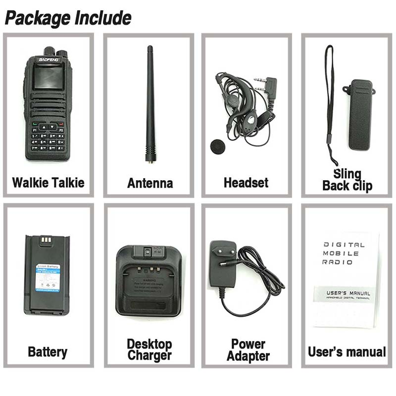 Image 5 - Baofeng DM 1701 Digital Analog Walkie Talkie Dual Band Dual Time Slot DMR Radio Station Two Way Radio Amateurs Transceiver 10 KM-in Walkie Talkie from Cellphones & Telecommunications