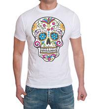 DAY OF DEAD SUGAR SKULL COTTON MENS T SHIRTTop Tee 100% Cotton Humor Men Crewneck Shirts Fashion Summer Paried Tshirts