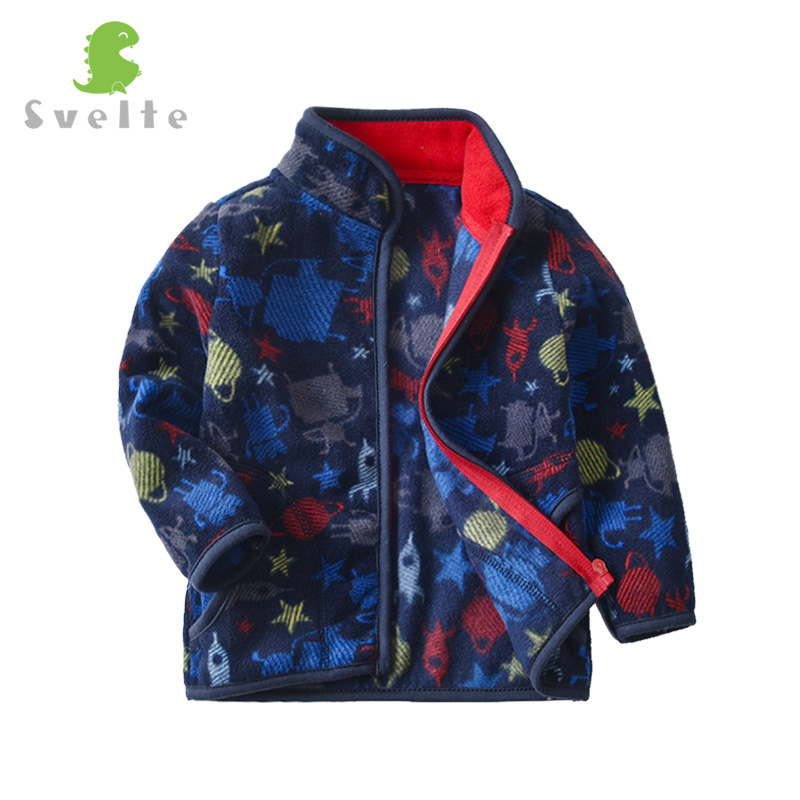 SVELTE Boys Polar Fleece Printed Jacket Coat Cute Soft Outerwear Cardigan Clothes Sweatshirt for Children Kid Spring Fall