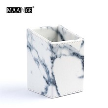 MAANGE Marble Pattern Makeup Brushes Portable Size Pen Storage Holder Organizer Cosmetic Brush Container Case