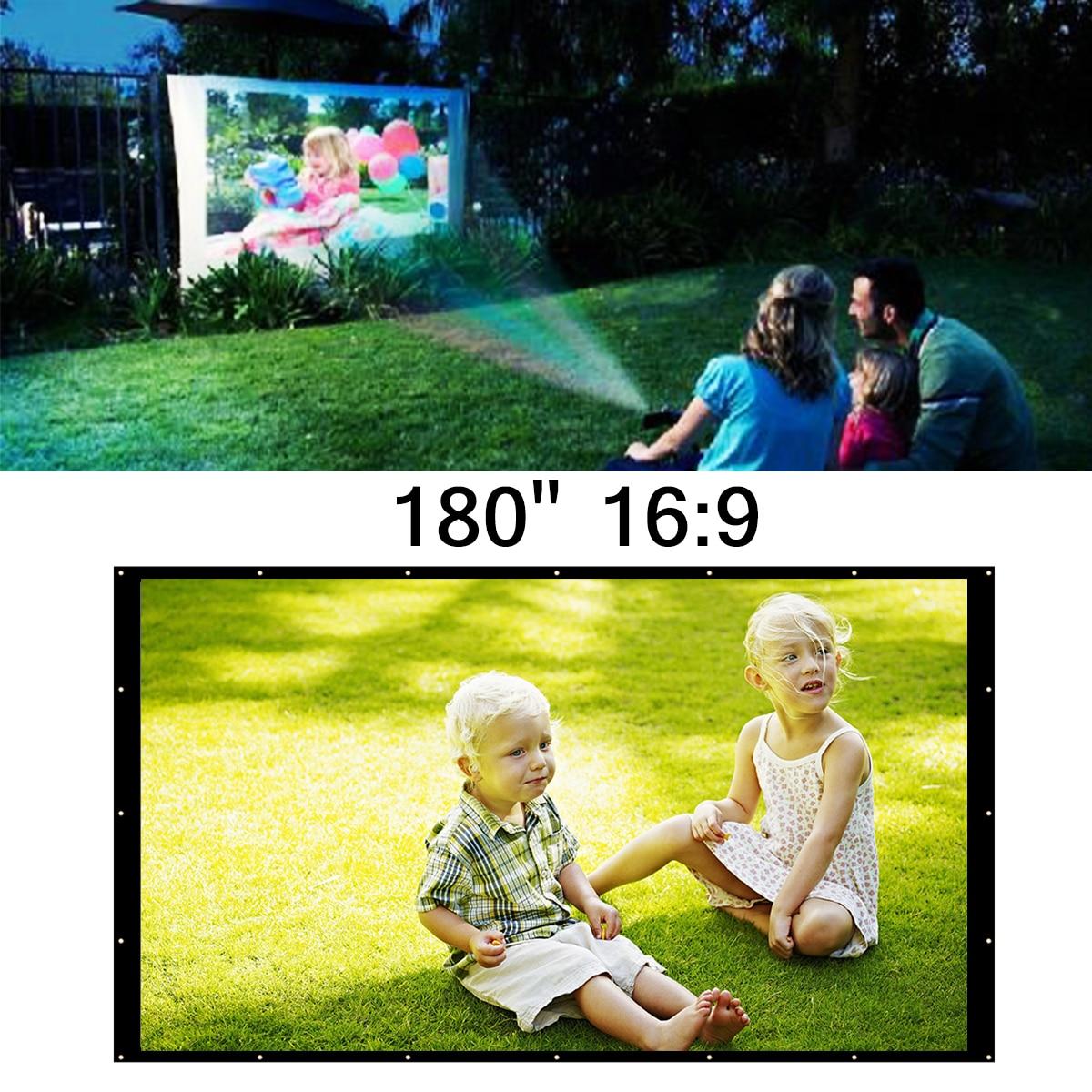 16:9 дюймов 180 дюймов портативный белый проектор экран Домашний кинотеатр Открытый путешествия кино складной Roll Up защита проектор экран