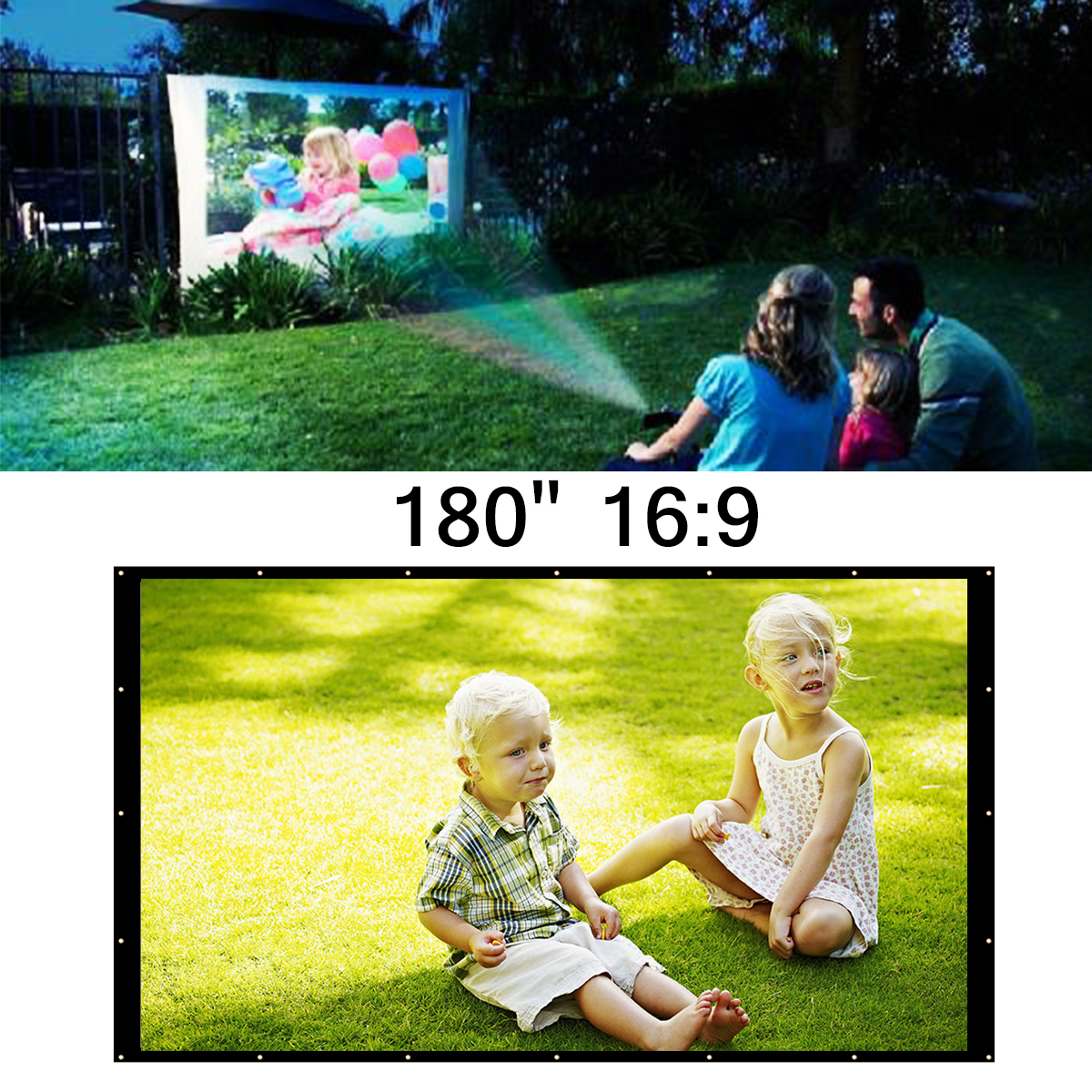 16:9 180 Inch Portable White Projector Screen Home Theater Outdoor Travel Cinema Foldable Roll Up Protection Projector Screen цена