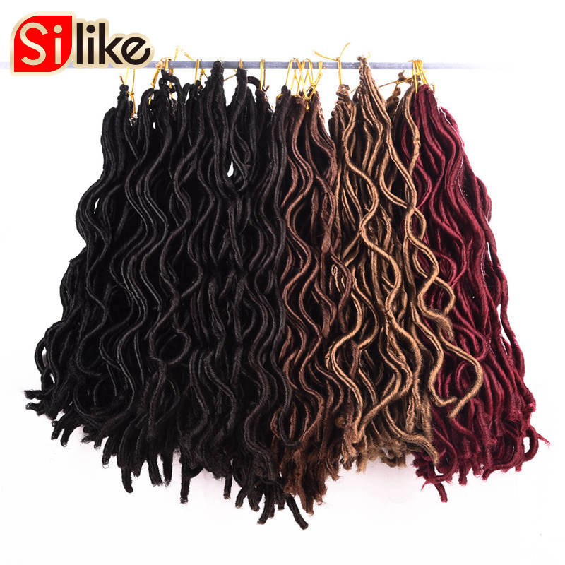 Silike 10' 20' Faux Locs Curly Crochet Braids Heat Resistant Synthetic Hair Black Brown Blonde Winered Braid Hair Extensions