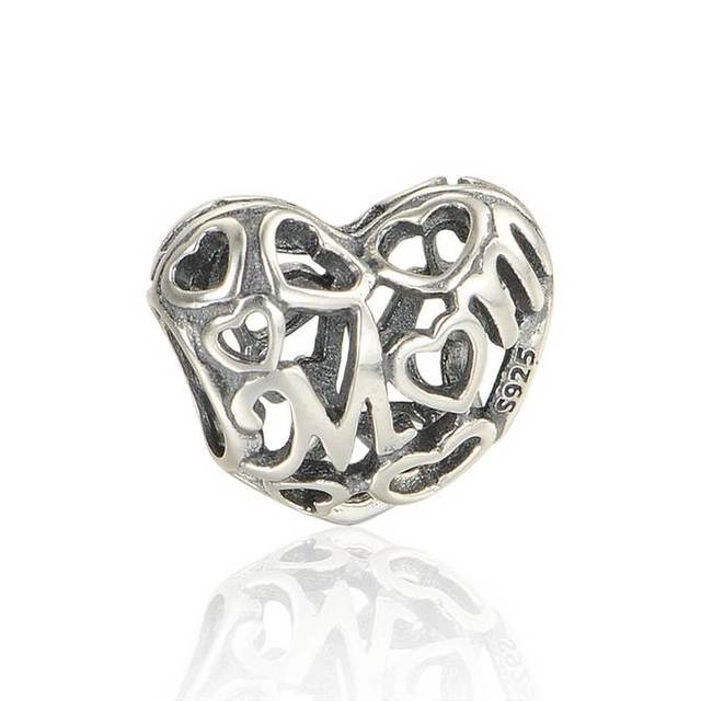 100% 925 Sterling Silver Openwork Hollow Mom Charm Bead Fit European Pandora Charm Bracelets & Necklaces LW537