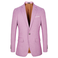 2018 Spring Summer New Casual Blazers Men Suits Linen Thin Slim Fit Suit blazer one button fashion Male Jackets Pink