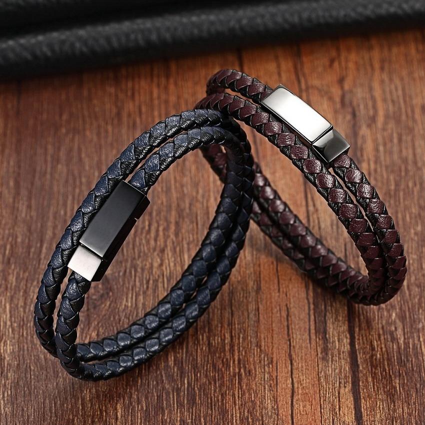 XQNI Chain Bracelet Men Genuine Leather Bracelets Fashion Leather Bracelet for women Male Magnet Stainless Steel Rope Bracelets