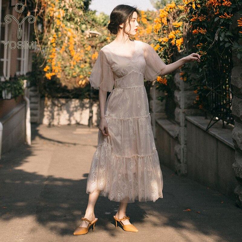 YOSIMI 2019 été Maxi dentelle longue femmes robe Beige col en v manches courtes robes de soirée fée cheville longueur coupe et Flare